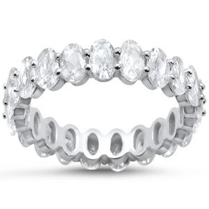 .925 Sterling Silver Oval CZ Eternity Band Ring